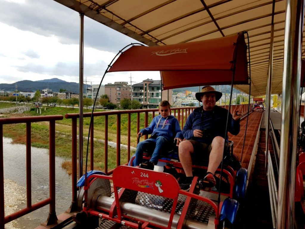 Having Fun on the Gapyeong Rail Car near Nami Island