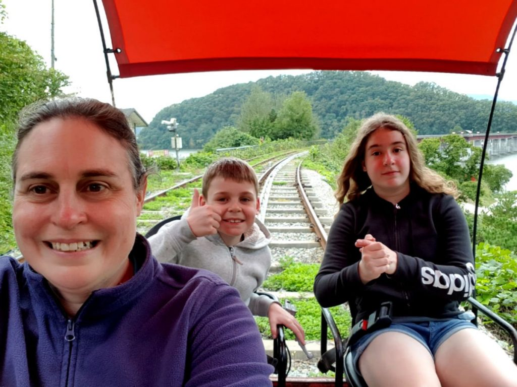 More having fun on the Gapyeong Rail Cars!