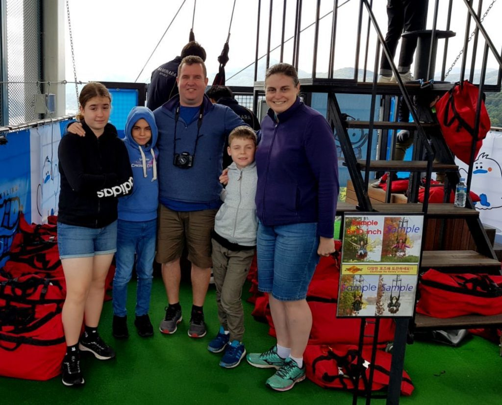Our Family waiting for our turn to ride the Nami Island Zipline!
