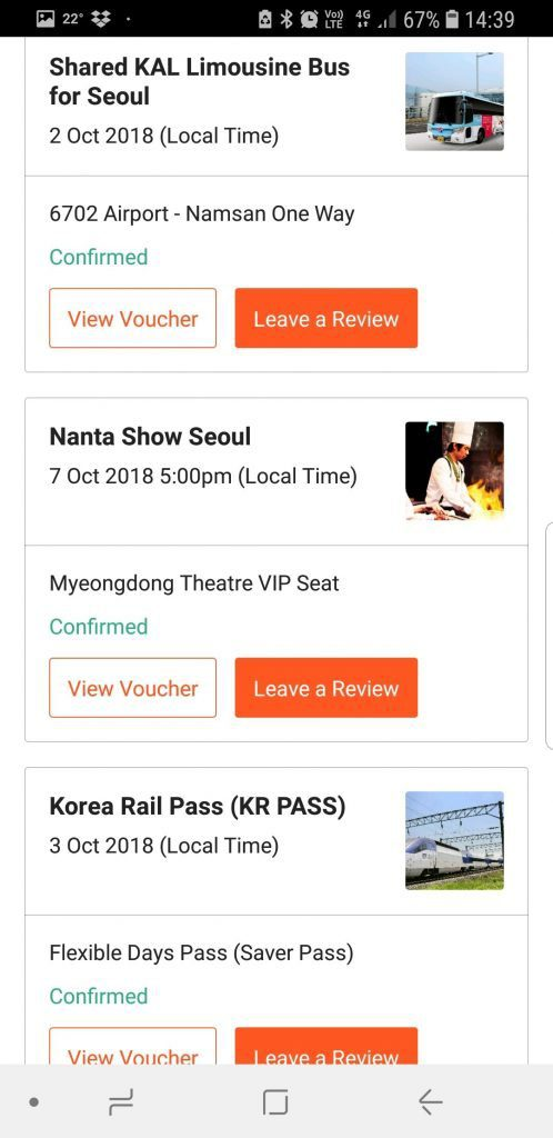 South Korea Trip Apps -Klook Bookings