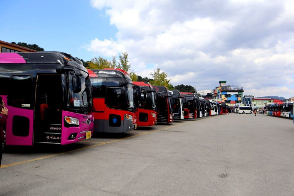The Impressive Coach Parking Lot outside Nami Island