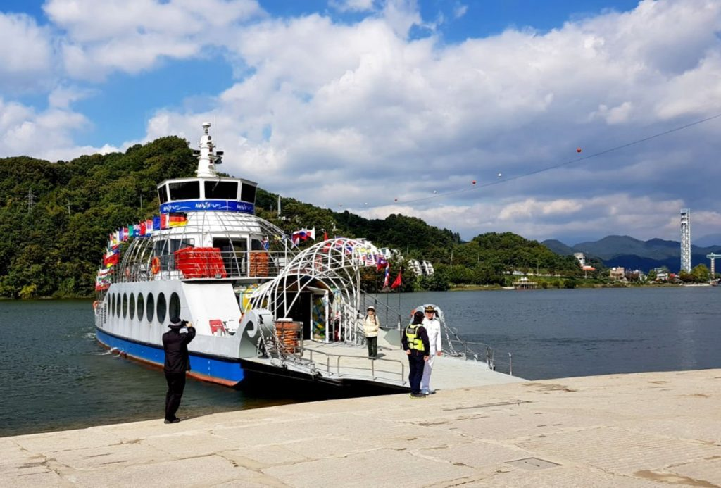 The Nami Island Ferry - with the start of the Nami Island Zipline in the background