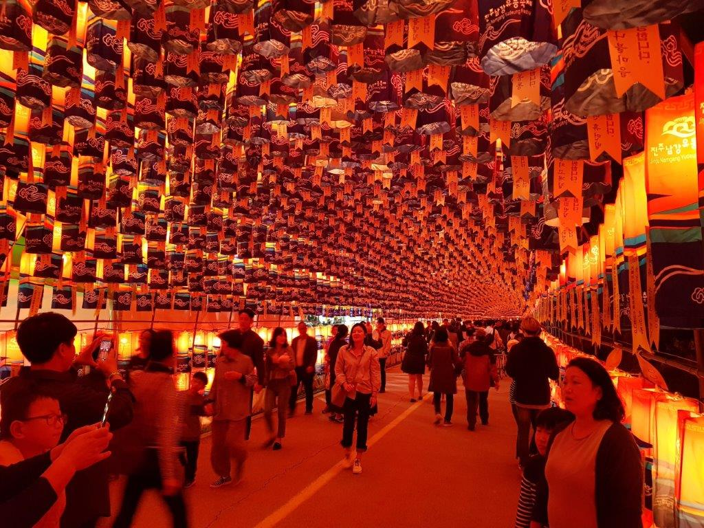 View of the Lantern Tunnel at the Jinju Lantern Festival in South Korea