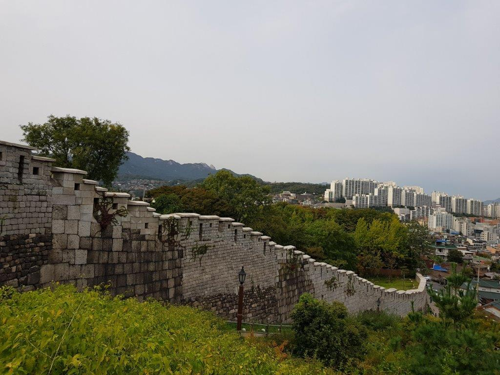 View of the walk along the Fortress Wall in Naksan Park, in Seoul, South Korea
