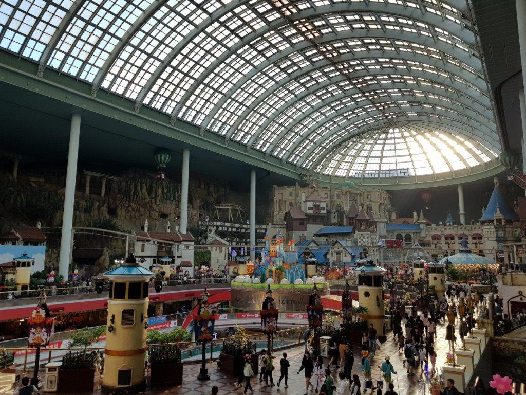 View over the mostly indoor Lotte World Theme Park in Seoul